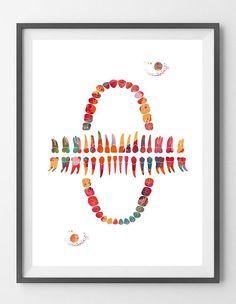 Teeth watercolor print human teeth anatomy art teeth row poster maxillary and mandibular teeth illustration medical dental print [800] This is a fine art watercolor print of my original handmade watercolor, digitally reworked. ♥ MATERIALS: High quality fine art prints (Giclee), made
