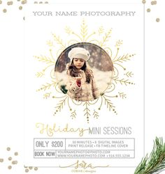 CLEARANCE: Christmas Mini Session Template, Photography Marketing Templates, Marketing Board, Photoshop Templates, 5x7