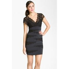 Betsy & Adam Double V-Neck Lace Trim Sheath Dress