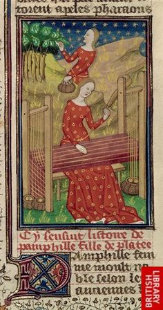 Detail of a miniature of Pamphila collecting cocoons of silk worms from trees…
