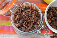 Chocolate Coconut Granola from Peachy Palate- remember a bit of spray for the tin foil as it sticks