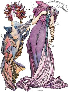 Paper Dolls in the Style of Mucha: Dover Publications Sample