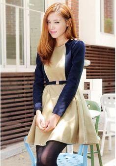 Discount Fabulous Slim Round Collar Long Sleeves Dress [rcq0581]- USD$82.70 - fashioninfashion