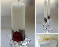 Rose Wedding Unity Candle Set By Forestcandlestudio