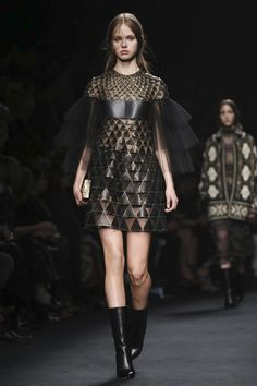 Valentino Ready To Wear Fall Winter 2015 Paris...Wow, imagine this in leather with bridal embellishments for that special look.