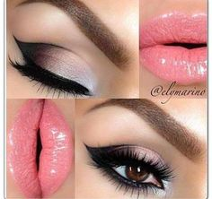 Pretty pink lips and a well defined cateye...