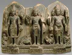 India, Bihar, Terai region. The Hindu Trinity of Vishnu, Shiva, and Brahma. Date 10th century.