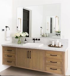 Natural Wood Floating Vanity Could Be A Really Nice Option Instead Of  Painted Grey For The Master Bathroom Vanity To Warm Up The White.