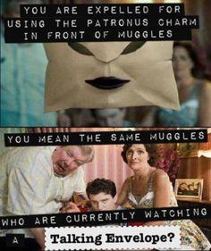 Harry Potter Logic, muggles, patronus charm, talking envelope