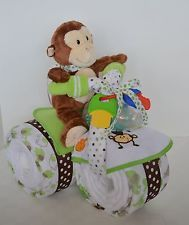 DIAPER CAKE TRICYCLE TRIKE MOTORCYCLE BABY SHOWER MONKEY SAFARI ELEPHANT NEUTRAL