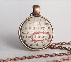 Librarian Necklace - Librarian Gift - Library - Reader - Librarian Jewelry - Bookaholic - Bookish Jewelry - Bookworm (B0559)