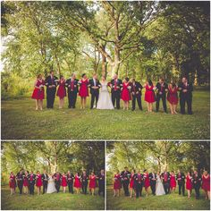 By Kara - Kara Evans - South Chicagoland Wedding Photographer - Kankakee Illinois Farm Wedding - Red Bridesmaid Dress