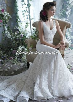 Ooh I like then neck!  Lace Wedding Dress,  V neck Bridal Gown, Ball Gown Wedding Dress, Strapless Bridal Dress on Etsy, $292.46 AUD