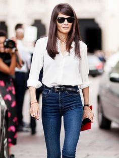 Tip: If you pressed the snooze button a few too many times this morning, try a look inspired by fashion editor Barbara Martelo. Tuck a button-down blouse into slim jeans, and accessorize with a thin belt and black pumps.  #fashion #outfit #inspiration