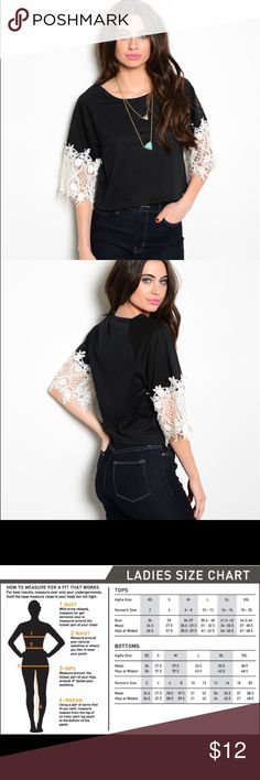 🎉sale🎉Lace Sleeve Cropped Tee This ultra comfy and cute cropped tee is a must have! It features lace sleeves that add the perfect feminine accent.    •95% rayon 5% spandex.   •this item comes new with tags Tops Crop Tops