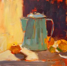 """Daily Paintworks - """"Coffee Pot Demo still life dem..."""" by Robin Weiss"""