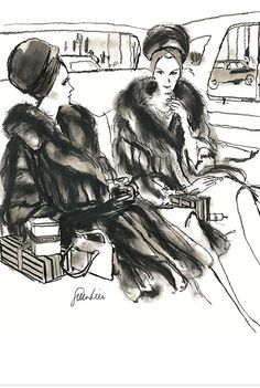 Fashion illustration by Fred Greenhill, 1967, Fur Coat.