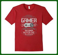 Mens 30th Birthday Old School Gamer Never Die T-Shirt 3XL Cranberry - Gamer shirts (*Amazon Partner-Link)