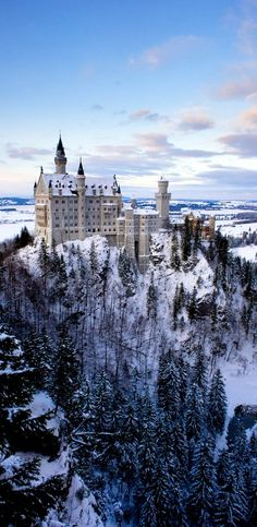 Winter at Neuschwanstein Castle, Germany. Take me back. I have the identical picture but no picture will ever do it justice.