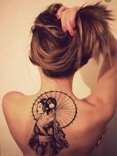 Gueixa tattoo feminina girls costas