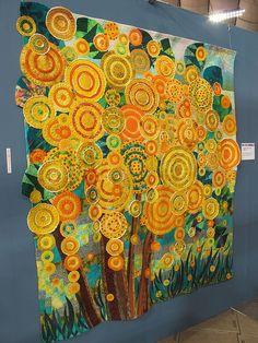 orange circles - field, flowers, fireflies quilting, applique, yellow, grass, tree