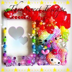 Super Kawaii Candy Rainbow Hello Kitty x My Melody iPhone 4 deco case on Etsy, $115.00