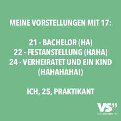 Meine Vorstellungen mit 17: 21 - Bachelor (Ha) 22 - Festanstellung (Haha) 24 - Verheiratet und ein Kind (Hahahahaha!). Ich, 25, Praktikant