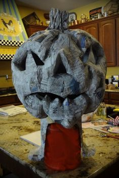 Life and Art with Glamma Fabulous: My Paper Mache Pumpkin Head Project