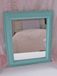 BlueGreen Mirror Wall Mirror Bathroom Mirror by 2BirdsVintage, $18.00