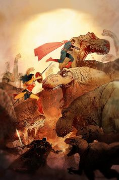 Superman, Batman and Wonder Woman vs some tyrannosaurs Bill Sienkiewicz