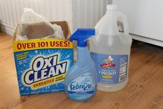 Homemade Carpet Shampoo 1 1/2 scoops Oxyclean 1/4 cup white vinegar 1/4/ cup Febreze (or other generic spray)  Mix together with a gallon of hot water and add to machine.  Any vinegar smell will fade away quickly, although my friend didn't notice any smell at all. She said this worked great on dog stains and odors.