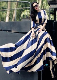 Stunning Blue and White Striped Floor Length Dress