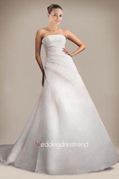 Cheap A Line Strapless Chapel Train Wedding Dress - Beautiful Wedding Dresses Online Wholesaler and Retailer