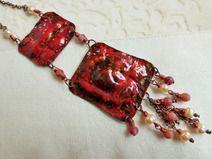 Kupfer-Vintage-Kette mit  Achaten, Perlen, UNIKAT!