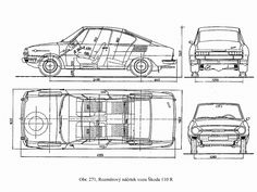 Skoda 110 R Blueprint - Download free blueprint for 3D modeling Dacia Logan, Ford Anglia, 3d Modeling, Cars, Motorcycles, Wheels, Free, Archive, Vehicles