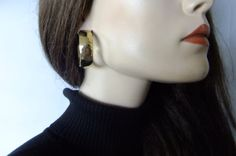 thick gold hoop earrings, costume jewelry, vintage gold hoops by vintage2049 on Etsy