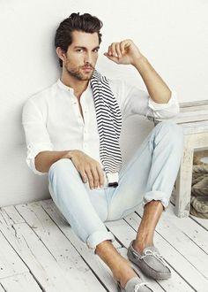 Mandarin Collar Shirt Outfit for men