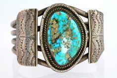Navajo Bracelet Sterling Silver Turquoise Cuff Bracelet Dead Pawn