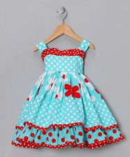 Girls clothes NWT Jelly The Pug Aspen blue red floral polka dot dress 6x