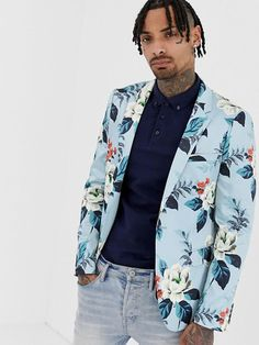 Find the best selection of ASOS DESIGN skinny blazer with floral allover print in blue. Shop today with free delivery and returns (Ts&Cs apply) with ASOS! Mens Beach Wedding Attire, Safari, African Print Dress Designs, Blazers, Purple Suits, Skinny Suits, Burton Menswear, Floral Blazer, Linen Blazer