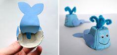 Manualidades con hueveras de cartón: ballena azul #kids #crafts
