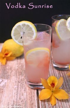 Vodka Sunrise   2CookinMamas The perfect drink for warm summer days. A refreshing combination of lemon soda, coupled with vodka & a touch of cherry juice, makes this one refreshing cocktail! #recipe #vodkadrinks #cocktailrecipes
