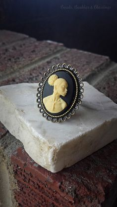 Black and Ivory Cameo Ring, Bronze Adjustable Cameo Ring, African American Cameo Ring, Ornate Cameo Ring, Queen Cameo Ring, Statement Ring by BeadsBaublesBlessing on Etsy