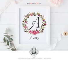 This is a printable customizable floral wreath monogram design perfect for birthday gifts, bedroom wall art, nursery decor or baby shower gifts. Please review the following before placing your order.  Size: 8x 10 Format: JPG & PDF  When placing your order, please choose from the drop down menu your choice of LETTER (A-Z). At check out please provide the NAME to be used in the design.  If you like to change the font used for the name, please indicate the number (#1-18) from the examples. T...