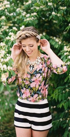 d9bd555d3b Floral Top + Bold Striped Shorts Floral Tops