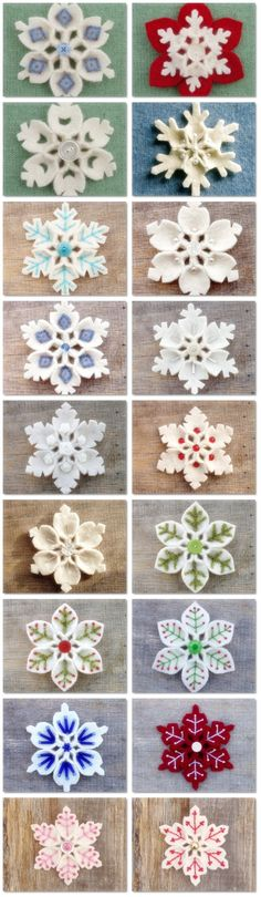 How to make Felt Snowflake DIY step by step tutorial instruction is part of Felt Winter crafts - I love it! So beautiful~ Felt Christmas Ornaments, Noel Christmas, Homemade Christmas, All Things Christmas, Christmas Nativity, Snowflake Ornaments, Diy Ornaments, Beaded Ornaments, Crochet Christmas