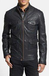 BOSS Orange 'Jumahr' Trim Fit Black Leather Field Jacket
