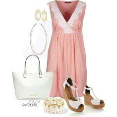 Soft pink dress. White lace detail. Might be a nice maternity dress as well.