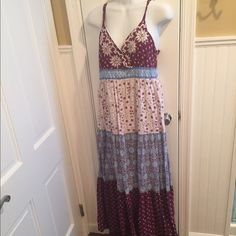 Style & Co maxi dress Adjustable straps. Full length. Pretty colors. Lined. Style & Co Dresses Maxi