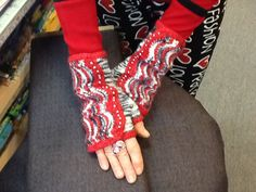 Spatterdash wrist warmers knit by Ruthie Snell